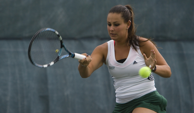 Anna Edelman, who set the women's tennis program single-season wins record this year, is one of Binghamton University's three