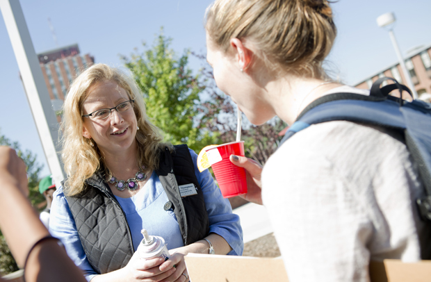 Dean of Students April Thompson provides smoothies to students outside the University Union last month.