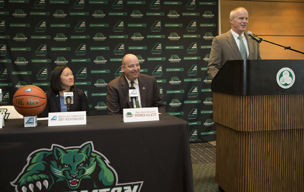 Binghamton University President Harvey Stenger, America East Conference Commissioner Amy Huchthausen and Director of Athletics Patrick Elliot announce that the 2015 and 2016 America East Women's Basketball Championship will be held at the Events Center.