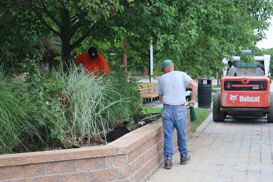 University Union retaining wall work