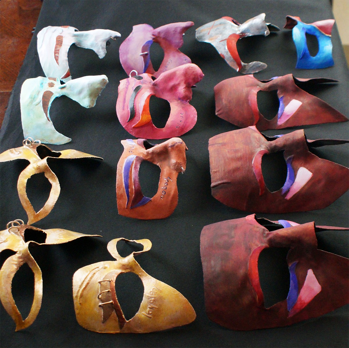 Masks created by graduate theater student Clarence Hause for the witches in