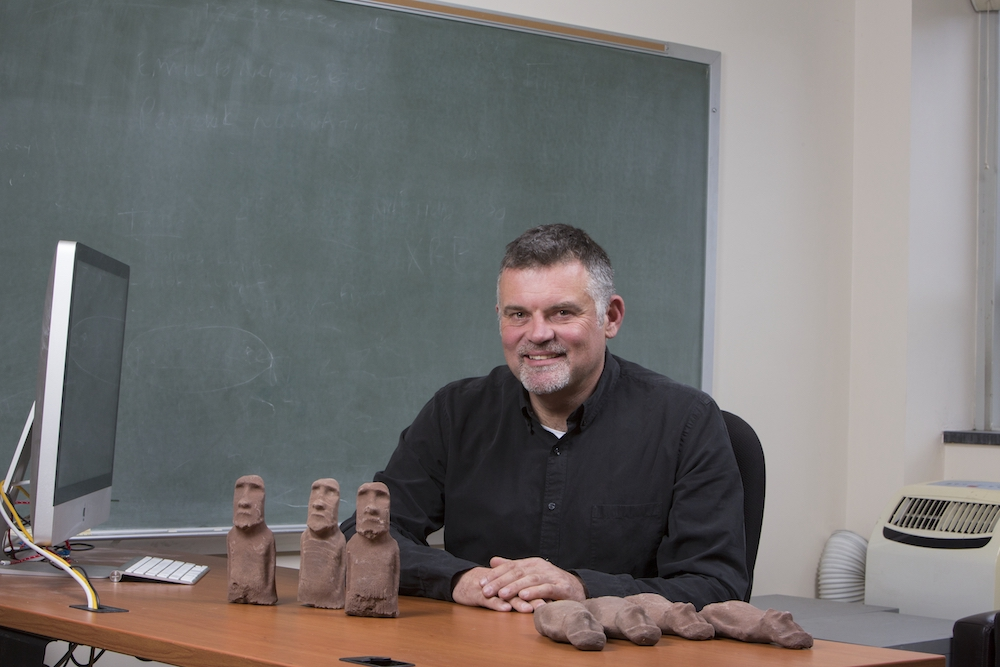 Binghamton University archaelogist Carl Lipo is working to uncover the ancient mysteries of Rapa Nui (Easter Island, Chile).