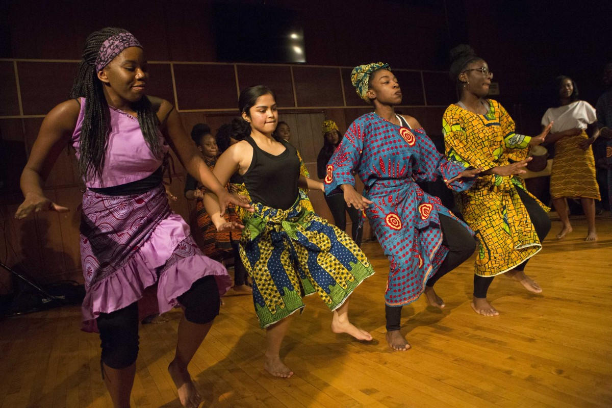 Nukporfe African Dance-Drumming Ensemble performs at the Mid-Day Concert at Casadesus Recital Hall, Thursday, November 12, 2015.