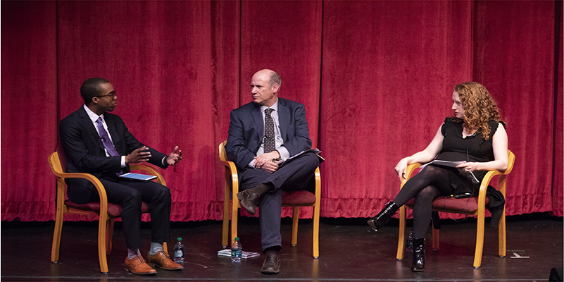 From left to right: Jermel McClure, Student Assocation president; Jonathan Karp, associate professor of Judaic Studies and chair of the Faculty Senate; and Suzanne Nossel, executive director of PEN America, participate in a discussion on the First Amendment.