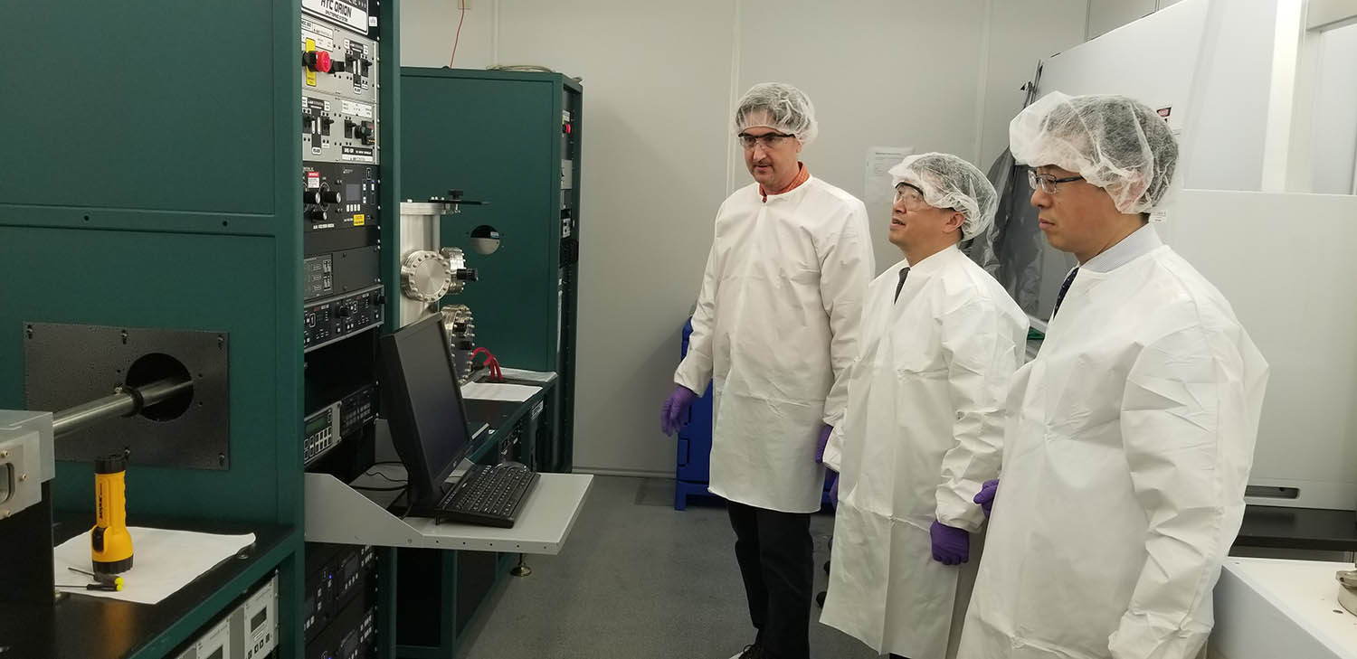 Officials from the East China University of Science and Technology toured Binghamton University's labs during their visit to campus in April.