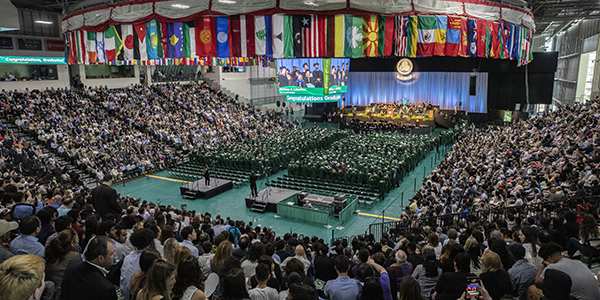 The Events Center was at full capacity as 749 bachelor's degrees were awarded during the first of three Harpur College of Arts and Sciences Commencement ceremonies held Saturday, May 18, 2019.