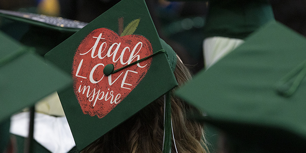 Decorated mortarboards told individual stories for graduates at the College of Community and Public Affairs Commencement — this one was worn by a Department of Teaching, Learning and Educational Leadership grad.