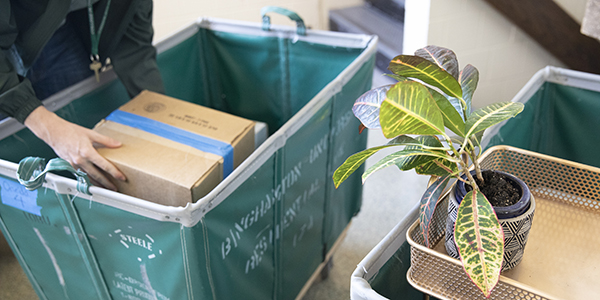 Laundry carts are at the ready as Binghamton University continues prepping for students to move into residence halls over seven days, Aug. 19 through 25.