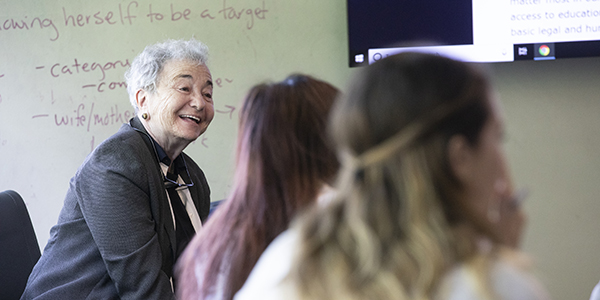 Alumna Ellyn Uram Kaschak '65 attends a class, Human Rights - Concepts & Methods, taught by Alexandra Moore, professor of English and co-director of the Human Rights Institute. Kaschak visited campus for the celebration of her endowment of the Ellyn Uram Kaschak Institute for Social Justice for Women and Girls.