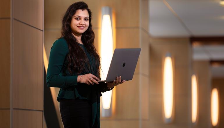 Priti Prabhakar Wakodikar is the first winner of the Chandra Family Scholarship.