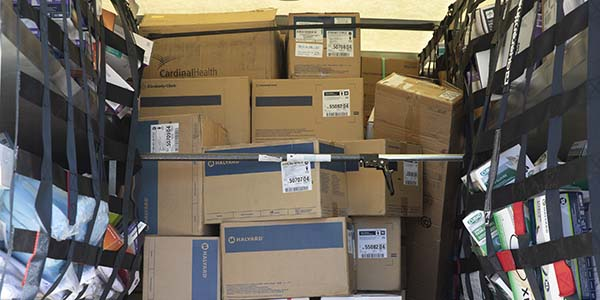A truckload of personal protective equipment and other supplies donated to the Broome County Emergency Operations Center by departments and schools across the Binghamton University campus. The supplies will be sent to where there is greatest need in the county.