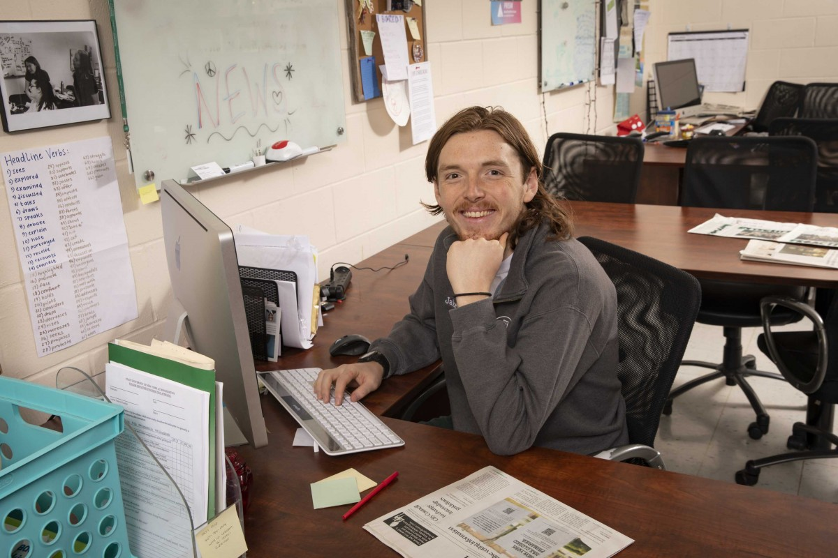 Jacob Kerr, news editor of the Binghamton University student-newspaper PipeDream, photographed in the PipeDream newsroom in the University Union.