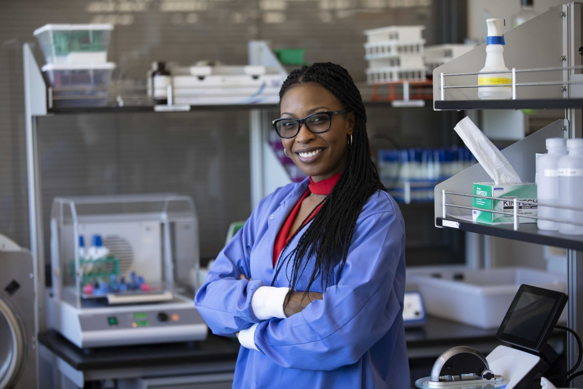 Lamar Thomas, a second-year PhD student in biological sciences, photographed at a lab in the Biotechnology Building at the Innovative Technologies Complex.