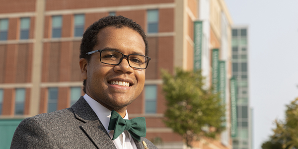 Doctoral student Jarvis Marlow-McCowin is the recipient of the new Fellowship for Racial Justice in honor of Dominic Davy, who died unexpectedly last spring.