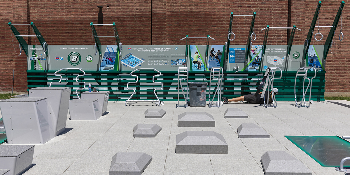 The new FitCourt offers seven training zones so users can get a full-body workout in the great outdoors.