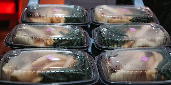 Meals ready for delivery to on-campus students who are in isolation or quarantined.