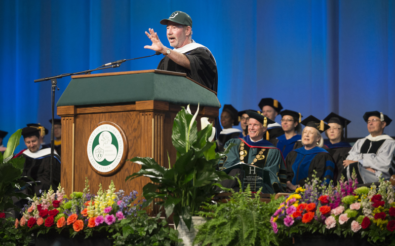 Tony Kornheiser, a sportswriter and radio and TV host, addresses Harpur College graduates during a May 21 ceremony.