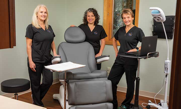 Decker nursing alumnae, from left, Beth Stewart, Yvonne Chesna and Michelle Winsor opened Broome Nurse Practitioners Skincare in Vestal, the area's first NP owned and operated practice.