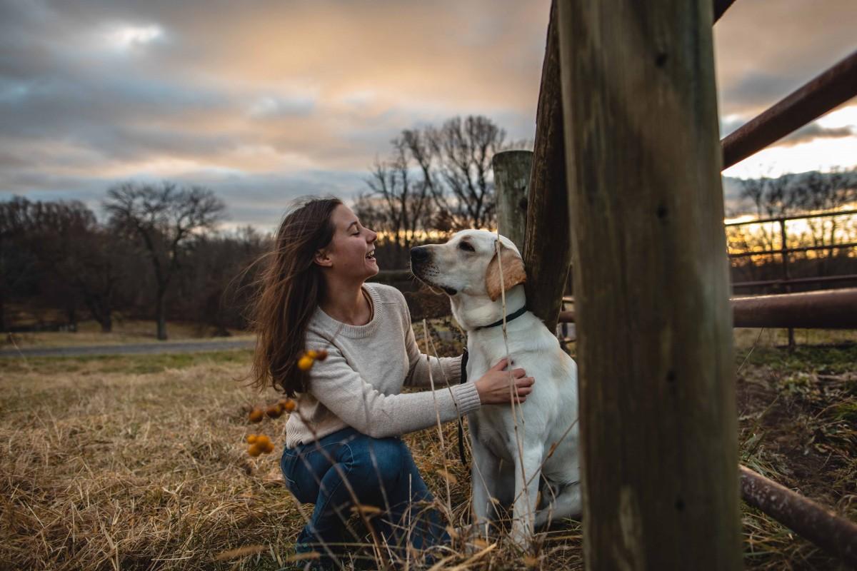 Biological sciences major Yfke Havinga and guide-dog-in-training Stan.