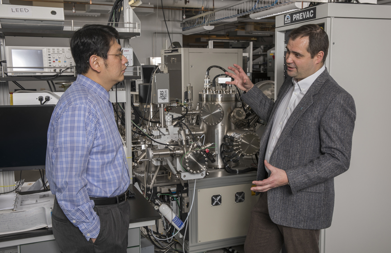 Faculty members Wei-Cheng Lee, left, and Louis Piper are leading Binghamton University's efforts in a $7.5 million project called CEREBRAL (Cross-disciplinary Electronic-ionic Research Enabling Biologically Realistic Autonomous Learning).