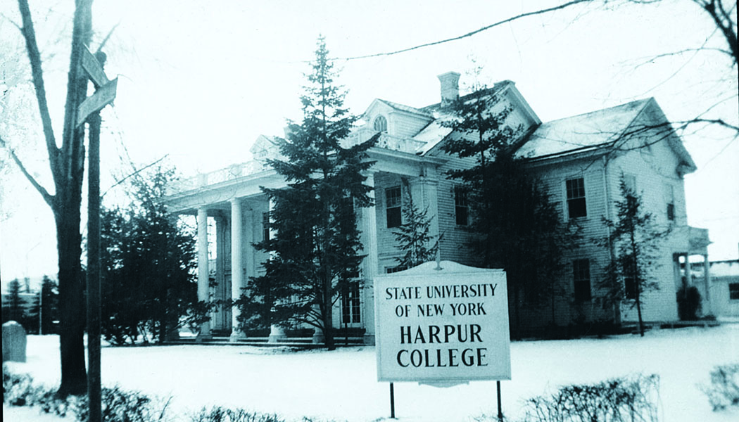 An undated photo of Colonial Hall in Endicott, N.Y., when it was the central building for Harpur College, which would eventually grow to become Binghamton University.