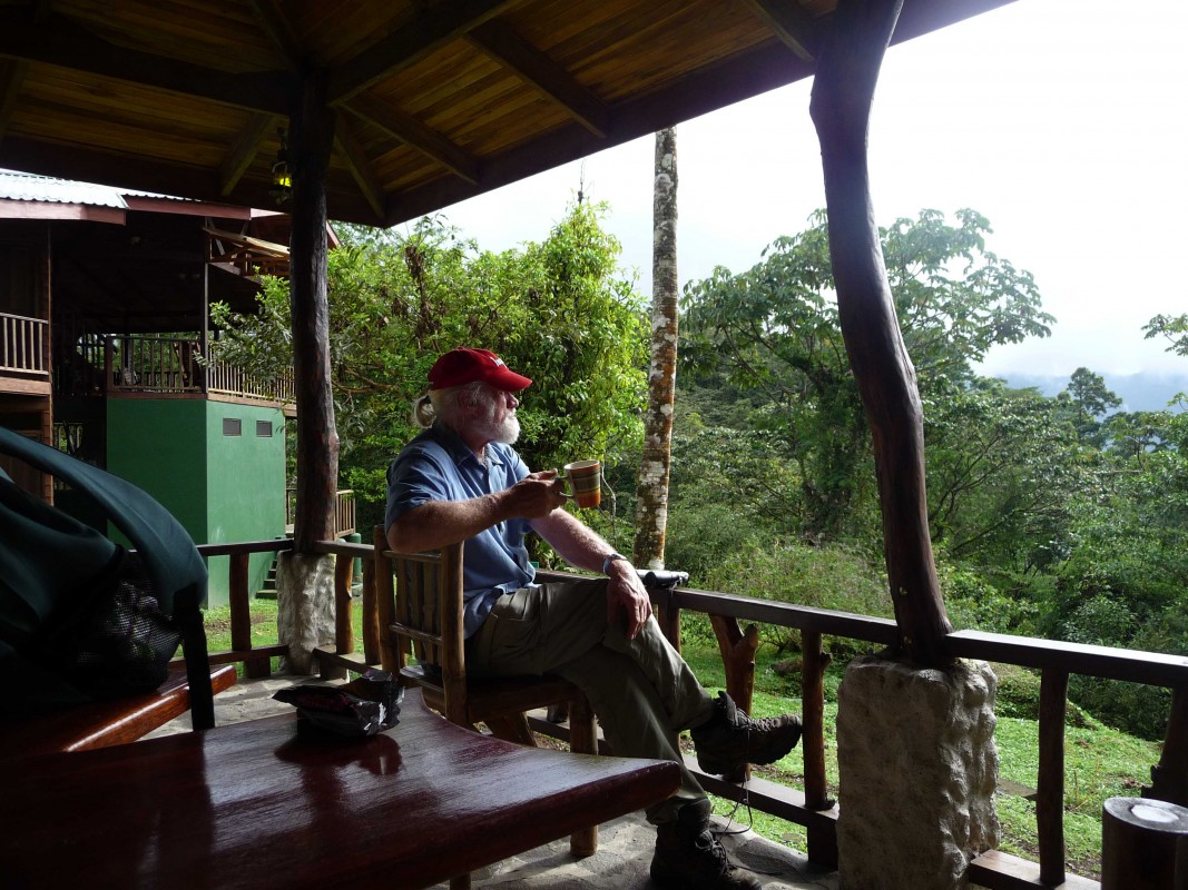 Professor Dick Andrus watches birds from his favorite spot: the Poco Sol research station in Costa Rica.