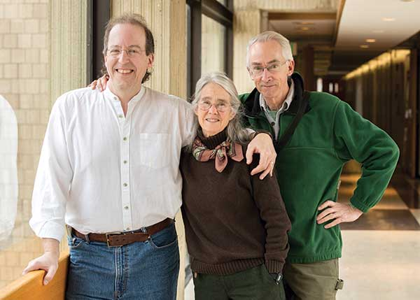 Lee Dugatkin with Associate Professor Anne Clark and Distinguished Professor David Sloan Wilson when Dugatkin came to Binghamton to talk about science writing.