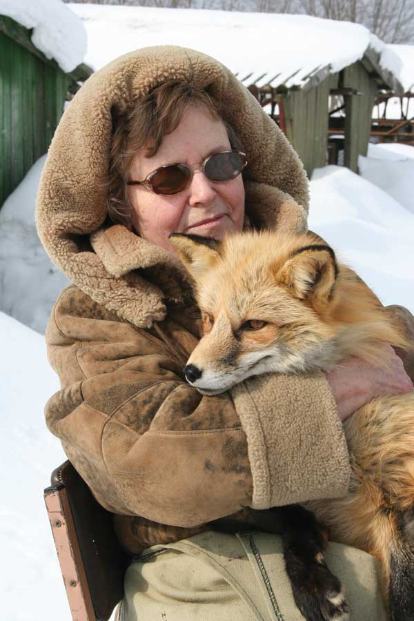 Lyudmila Trut with a domesticated fox.