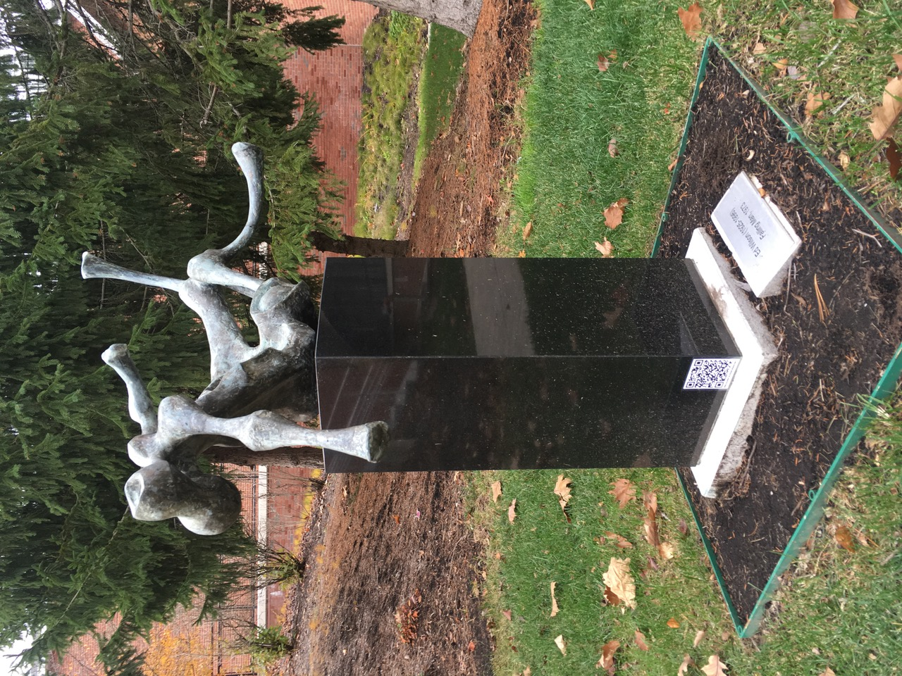 One of the sculptures featured in the Binghamton University Art Museum Scavenger Hunt. A QR code directed seekers to the next clue.