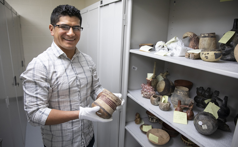 Anthropology doctoral student Fernando Flores curated an exhibit called Issues in Accessioning Pre-Hispanic Objects.