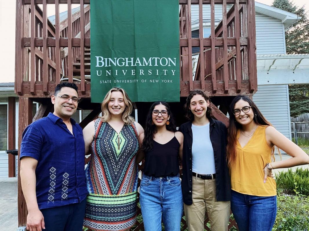 Assistant Professor of Human Development Óscar F. Gil-García (left) and his research team, from left: Francesca Bové, Luz Velazquez, Sarah Vener and Alexandra Miranda