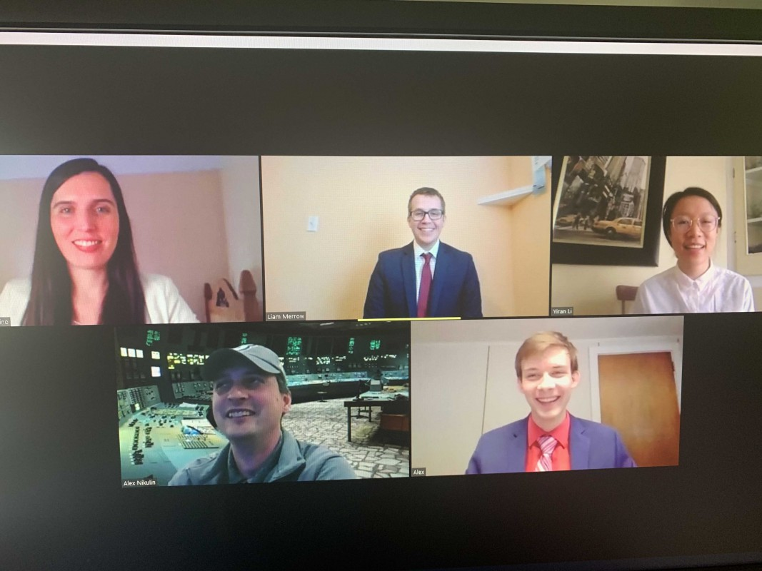 A screenshot of Binghamton University's 2020 IBA competition team on Zoom celebrating their win with faculty mentor Alex Nikulin.