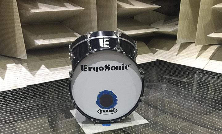 An ErgoSonic drum inside the anechoic chamber.