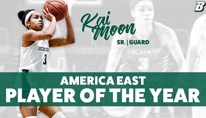 Senior guard Kai Moon has been selected as the America East Women's Basketball Player of the Year.