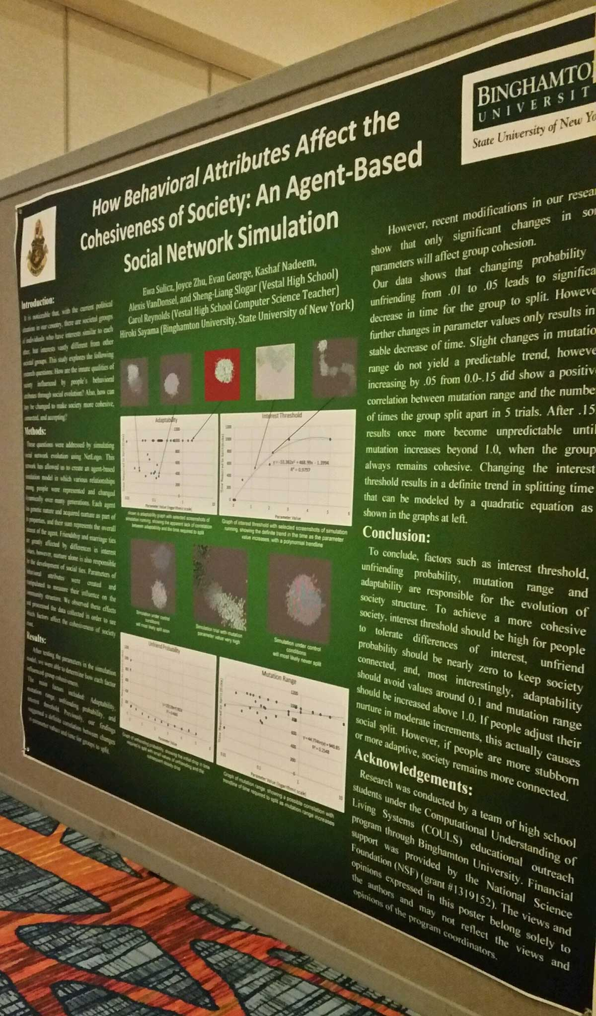 Vestal High School students used simulation to investigate community evolution and presented their findings at a national conference. They were the only high schoolers invited to present.