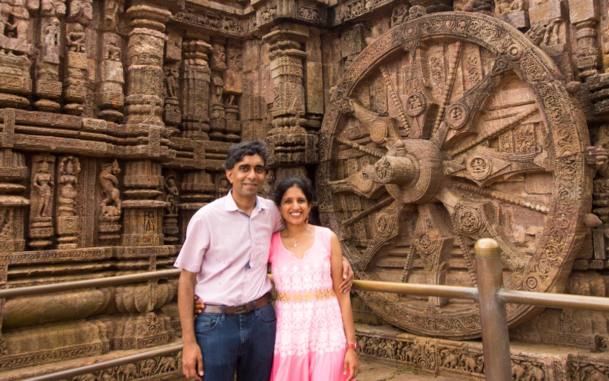 Subhachandra Chandra, MS '95, and Nandita Dukkipati (seen here at the Konark Sun Temple in India) endowed a new scholarship at the Watson School earlier this year. Below right: Watson students help children build popsicle-stick catapults to learn about projectiles and energy transfer.