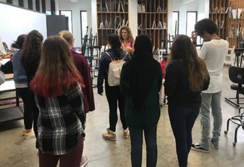 Johnson City High School students take part in a tour of the Department of Art and Design during a visit to campus in September. Students also visited the Binghamton University Art Museum and the Theatre Department.