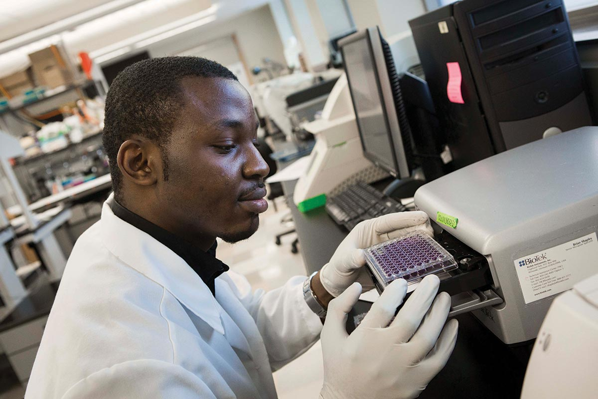 Graduate student Daniel Popoola does research with Assistant Professor Nicole Cameron, a member of the DEARC.