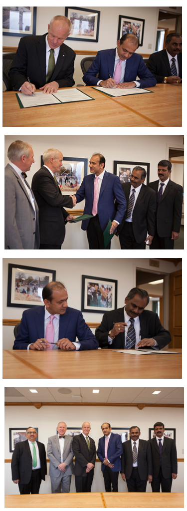 Leaders from the Watson School, Binghamton University and The Mangalore Institute of Technology And Engineering sign a memorandum of understanding.