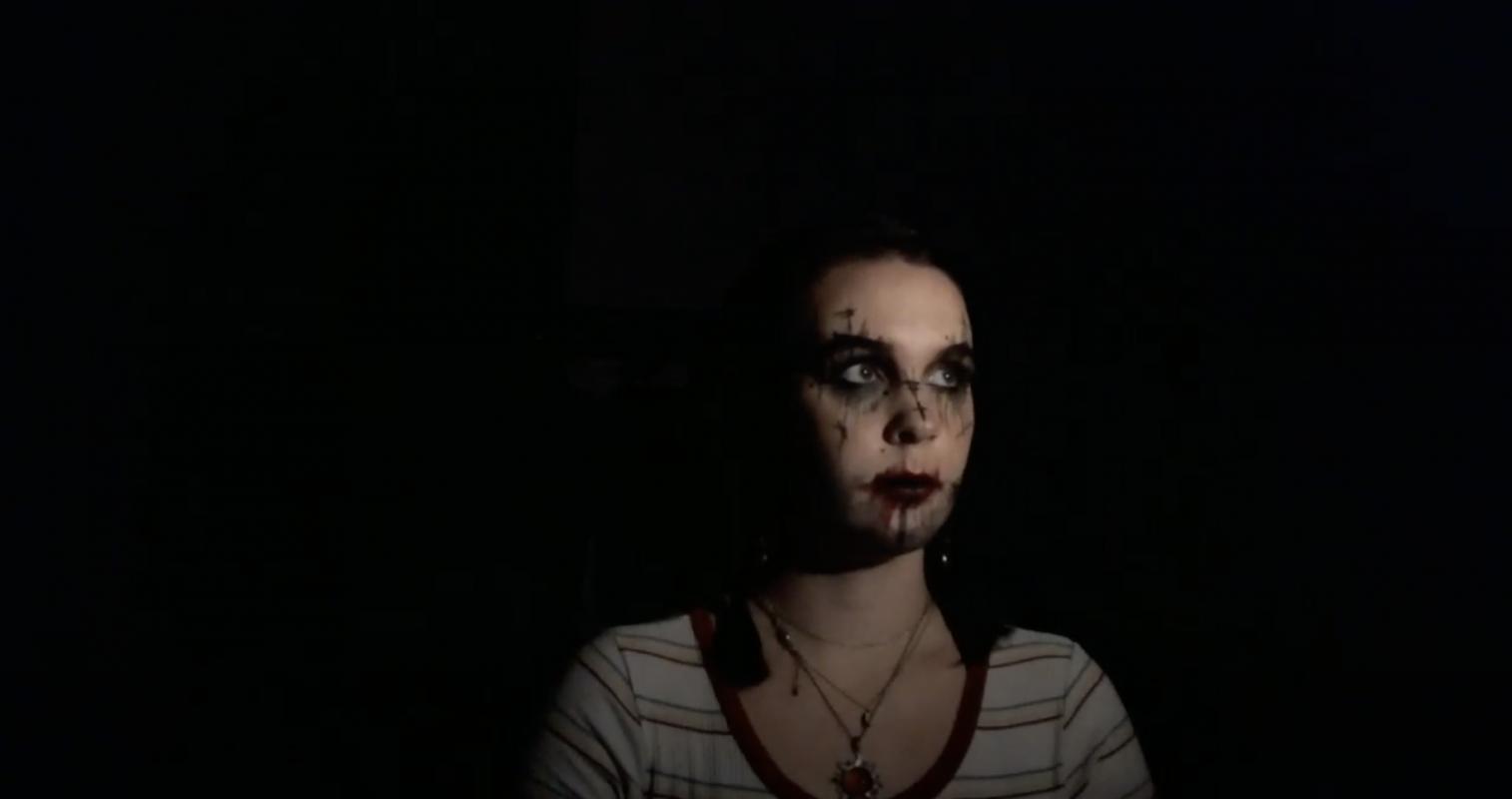 Kassie Kelso '20, costume designer, showing a test make-up design for