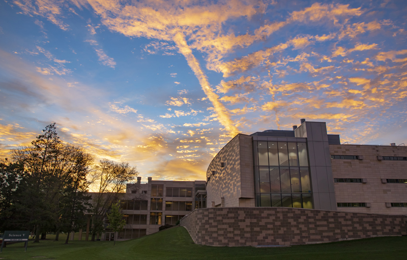 The sun rises over Science 4 and Science 5 on Sept. 17.
