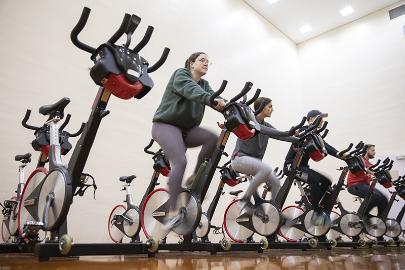 Binghamton University students take part in a sweat study at the West Gym.