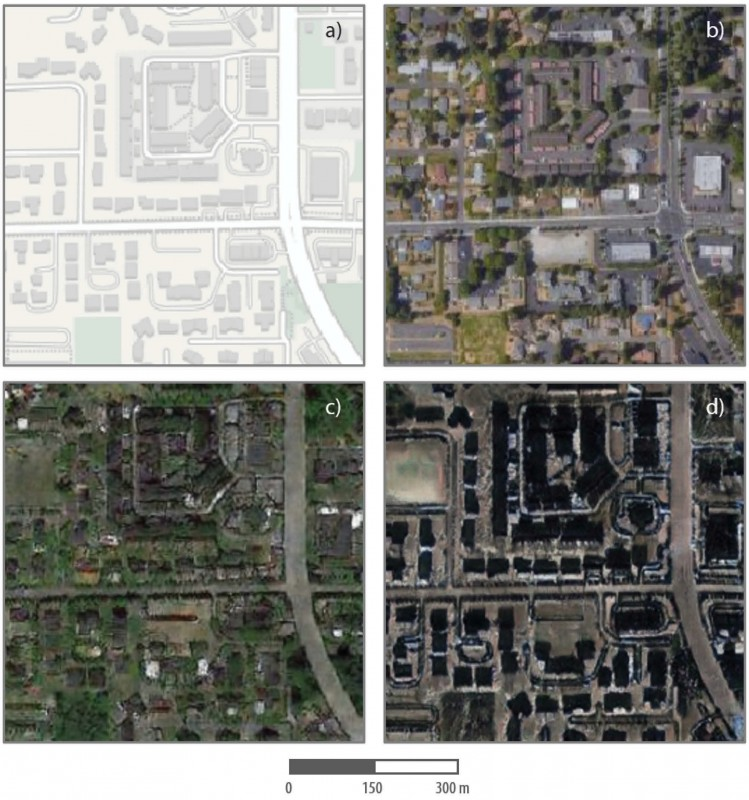 Researchers combined satellite images of Tacoma, Washington, with Seattle and Beijing to create a composite image, and then identified differences between the false and true images.