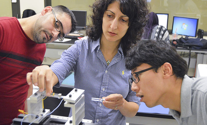 Assistant professor Sherry Towfighian (center) is the principle investigator for this study.