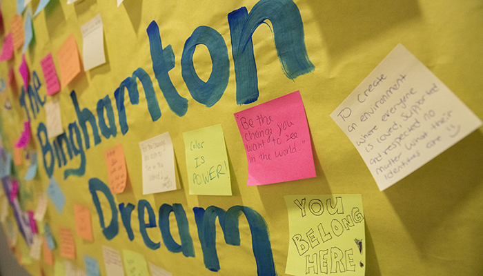A Binghamton Dream wall created with Post-it notes for the inaugural MLK Jr. Week of Welcome celebration in 2016.