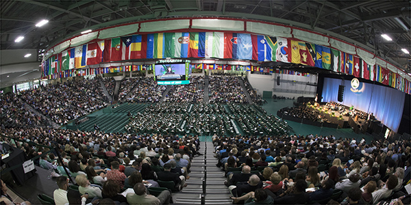 A look at the Events Center filled with Harpur students and their families during a Commencement 2017 ceremony.