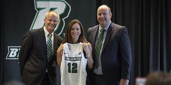 Bethann Shapiro Ord poses with Binghamton University President Harvey Stenger, left, and Director of Athletics Patrick Elliott prior to the news conference introducing her to the campus and community.