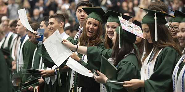 Students of the Thomas J. Watson School of Engineering and Applied Science enjoy their Commencement ceremony.