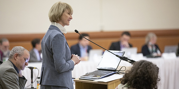 SUNY Chancellor Kristina Johnson responds to questions from faculty senators during the fall 2018 plenary meeting of the SUNY University Faculty Senate, held at Binghamton University Oct. 18-20.