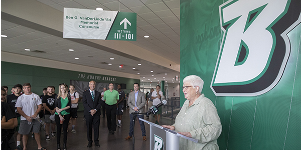 Sheila Doyle, executive director of the Binghamton University Foundation, speaks at the dedication of the Ben G. VanDerLinde '84 Memorial Concourse at the Events Center on July 8, 2019.